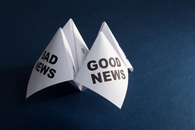 Paper fortune teller showing Good News, Bad News
