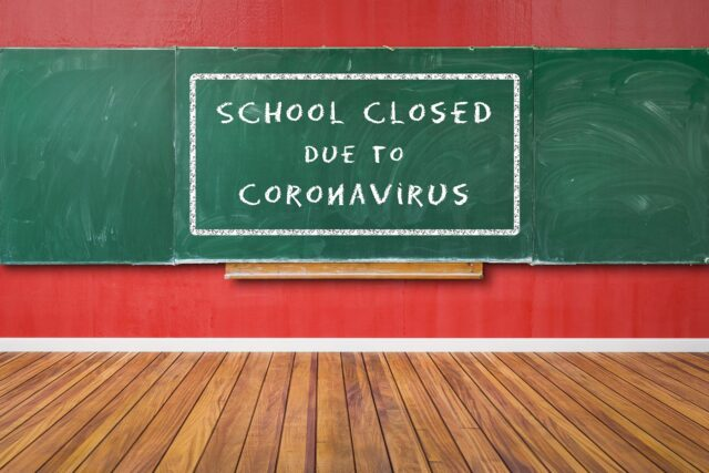 school closed due to coronavirus concept